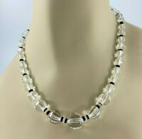 Vintage Art Deco Clear and Black Crystals Necklace, Checkerboard Faceted Beads