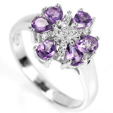Natural AMETHYST & White Cubic Zirconia Stones 925 STERLING SILVER RING S6.5