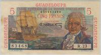 1947 Guadeloupe 5 Francs Banknote P31 Rare AU-UNC Crisp