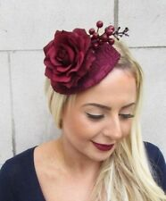 Burgundy Deep Red Rose Berry Flower Fascinator Teardrop Races Hair Clip Vtg 4818