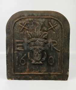 17th Century style Cast Iron Marker/fire back - Dated 1601.