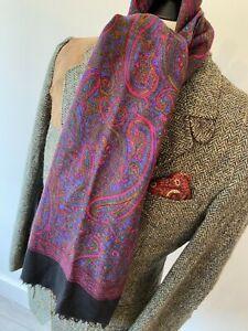 "VINTAGE MENS Beautiful man's black multi colour paisley long scarf 11 x 48"""