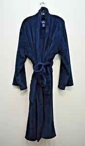 Stafford Men Blue Long Sleeve Shawl Neck Tie Belt Regular Fit Robe One Size