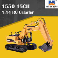 HUINA 1550 1:14 RC Crawler Car 15CH 2.4G RC Metal Excavator Truck Metal Bucket