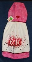 **NEW** Handmade Valentine's Day Love & Hearts Hanging Kitchen Hand Towel #1520