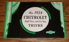 1934 Chevrolet Truck Half Ton & 1 1/2 Ton Sales Brochure 34 Chevy Pickup