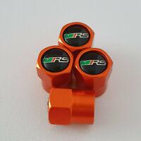 SKODA VRS metal Orange Valve Dust caps all models Lot Colours FAST DISPATCH