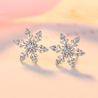 925 Silver Snowflake White Topaz Ear Stud Ring Earrings Jewelry Gift Christmas