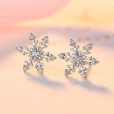 Cute 925 Silver Christmas Snowflake White Topaz Ear Stud Earrings Jewelry Gifts