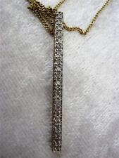 Clásico Elegante 20 Diamante 9 Ct Amarillo Línea Dorada Colgante + Cadena
