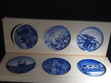 "Royal Copenhagen Set Of 6 Butter Pat Or Wall Plates W/ Original Box 3 1/4"""
