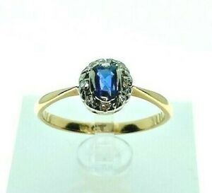Vintage 18ct Gold Sapphire and Diamond Engagement Ring - Size M½