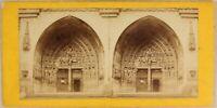 Suisse Portail Cattedrale Da Bern c1870 Foto Stereo Vintage Albumina