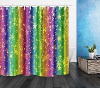 Colorful Star on Rainbow Shower Curtain Bath Curtains Mat Bathroom Set Decor Rug