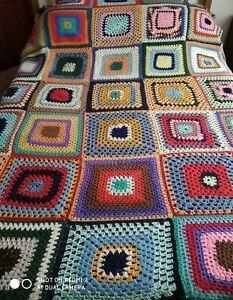 60's RETRO VINTAGE CROCHET Wool Granny Square Blanket Throw Multicolored Afghan