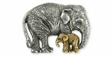 Asian Elephant And Baby Pendant Jewelry Silver And Gold Handmade Wildlife Pendan