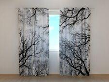 3D Photo Curtain Printed February Sky Image Wellmira 3D Black&White Winter