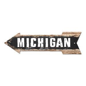 AP-0078 MICHIGAN Arrow Street Tin Chic Sign Name Sign Home man cave Decor