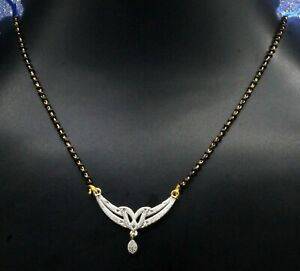 """14 K Gold White Topaz Handmade Indian Jewelry Mangal sutra Necklace Size-17-18"""""""