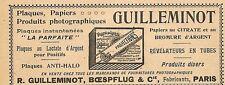 """PLAQUES PHOTOGRAPHIQUES """" GUILLEMINOT BOESPFLUG """" PETITE PUBLICITE 1900"""