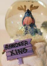 """Disney EEYORE Mini Snowglobe """"Reindeer Xing"""" Christmas Winter theme. Winnie Pooh"""