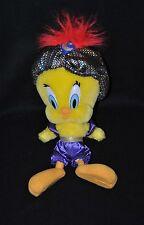 Peluche doudou Titi jaune ensemble mauve turban carreaux multicolore 30 cm TTBE