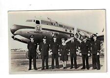B&W Photo Postcard KLM Dutch Roayl Airlines Douglas DC-4 & Crew Flying Dutchman