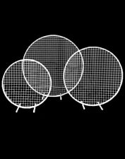 3 Piece Round Mesh Backdrop Set Iron Stand Wedding Event Party Props