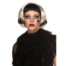 Womens Adult Lady Gaga Short Black & Blonde 2 Way Costume Wig