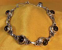 Vintage 925 Sterling Silver Smokey Quartz Gemstone Ladies Bracelet Fine Jewelry