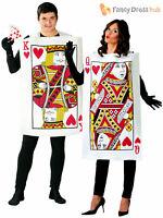 Adult King Queen of Hearts Costume Men Ladies Alice Fairytale Fancy Dress Casino