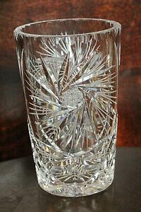 Vintage Clear Crystal Starburst Etched Vase
