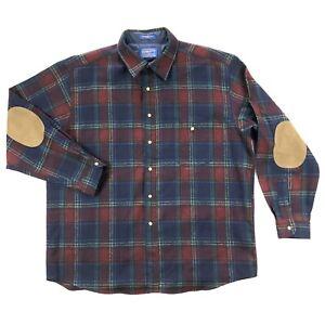 Pendleton Mens XL Purple Blue Plaid100% Wool Elbow Patch Tweed Flannel Shirt