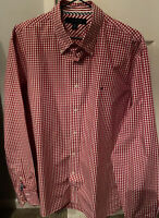 Tommy Hilfiger Mens Red & White Checked  Long Sleeved Shirt Size Large