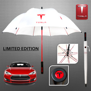TESLA Golf Automatic Umbrella Brolly Limited Summer Edition Red white