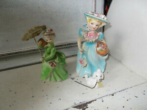 Vintage Crinoline lady china ornaments one with poodle x 2 good condition