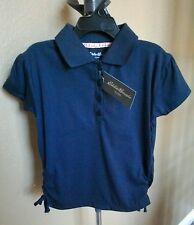 Girls 5/6 M>Eddie Bauer>navy blue Polo Shirt Cute Side Bows NEW W/Tags $26.00