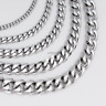 18-36'' MENS Boys Chain Silver Tone Curb Link Stainless Steel Necklace 3/5/7mm