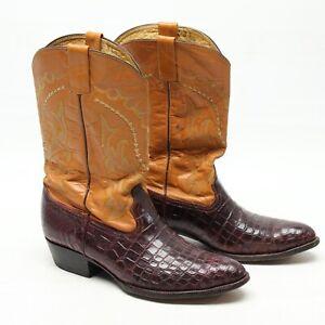 VTG Western Mens Cowboy Boots 12 Burgundy Crocodile Vamp Tan Leather