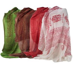 XL Benares Tuch Ganesha mit Mantra Halstuch Indien frische Farben A3