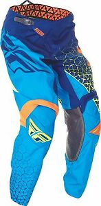 NOS FLY RACING 369-43136 KINETIC TRIFECTA PANTS BLUE ORANGE YELLOW MENS SIZE 36