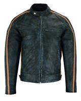 Classic Mens British Motorcycle Black Wax Leather Jacket Biker Tan Green Striped