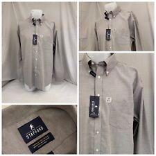 Stafford Dress Shirt 17 36/37 Gray Cotton Poly Oxford Regular NWT Flipz A893