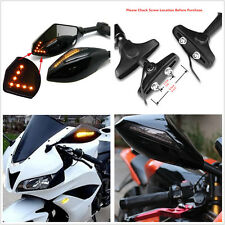 2 x Motorcycle Rearview Side Mirror Amber LED Turn Signal Indicator For Kawasaki