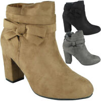 Womens Ankle Bow Boots Ladies Faux Suede New Zip Low Cuban Heel Work Shoes Size
