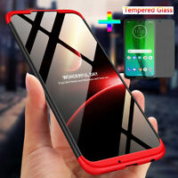 For Motorola Moto G7 360° Protection Cover Shockproof Case+Tempered Glass
