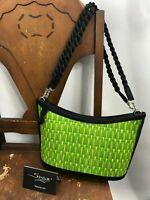 Tatami Purse Bag by Saraye Black Green Woven Grass Handbag Eco Handmade