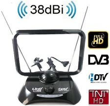Antena para tv televisor FULL HD HDTV UHF 38 DBi TV TDT DVB-T FILTRO LTE ACTIVA