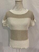 Ann Taylor LOFT Sz Small Ivory Beige Striped Open Knit Pullover Sweater