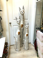 Cat Tall Statue Wood Carved Set of 3 With Straw Detail Neck Painted Solid Wood